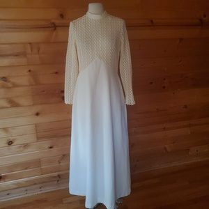 1970s Unlabeled Ivory, Poly Knit, Wedding Dress